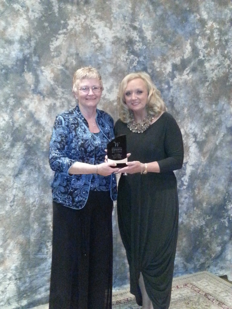 Barb Fenske with Jane Dayus-Hinch at the 2012 Wedding Industry Experts Award held in Red Deer, Alberta